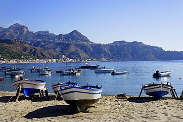 Taormina viewed from the bay of Giardini Naxos, Sicily, Italien