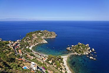 Aerial shot of Isola Bella, Taormina, Sicily, Italy