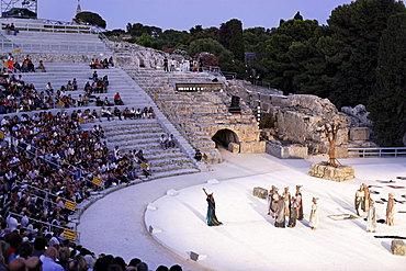 Medea performance, amphitheatre, Syracuse, Ortygia island, Sicily, Italy