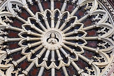 ornamented window, San Lorenzo nella Cattedrale, Piazza Dante Alighieri, Grosseto, Tuscany, Italy