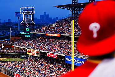 Baseball match between the Phillies and the Atlanta Braves, Downtown Philadelphia in the back, Philadelphia, Pennsylvania, USA