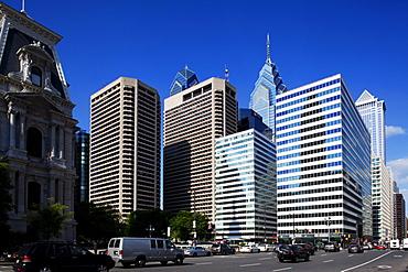 John F Kennedy Boulevard, a part of city hall and skyscrapers, downtown, Philadelphia, Pennsylvania, USA