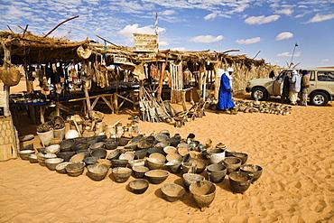 Souvenir shops at Mandara Lakes, oasis Um el Ma, libyan desert, Libya, Sahara, North Africa