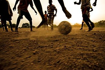 Soccer match bare-footed, near Kara, Togo