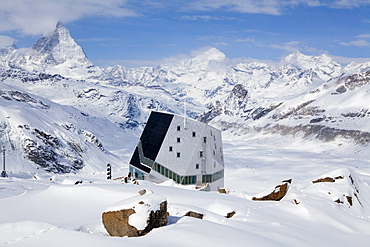 New Monte Rosa Hut, Matterhorn in background, Zermatt, Canton of Valais, Switzerland