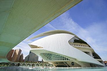 Opera at Ciudad de las Artes y las Ciencias, City of Arts and Sciences, designed by Santiago Calatrava, Valencia, Spain, Europe