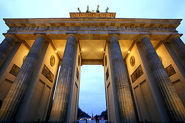 Brandenburg Gate and street in the evening, Berlin, Germany, Europe
