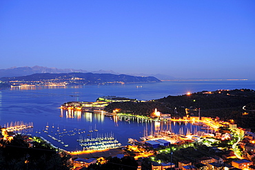 Illuminated port and city of Porto Venere, natural park Porto Venere, national park Cinque Terre, UNESCO world heritage site, Liguria, Italy