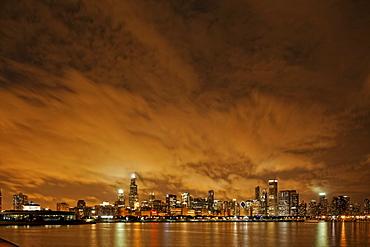 Lake Michigan and Chicago skyline seen from Adler Planetarium, Chicago, Illinois, USA