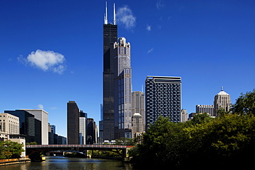 Chicago River and Wiillis Tower (formerly Sears Tower), Chicago, Illinois, USA