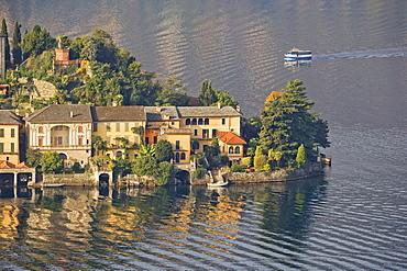 Northern part of Isola San Giulio, Lake Orta, Piedmont, Itay