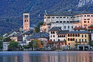 Isola San Giulio and Basilica di S.Giulio, Lake Orta, Piedmont, Italy