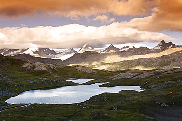 Laghi Trebecchi, Col de Nivolet, Gran Paradiso range in background, Gran Paradiso National Park, Aosta valley, Italy