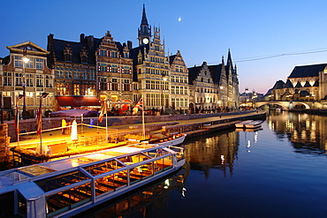 Old Town of Ghent at night with reflection in the water, Flanders, Belgium