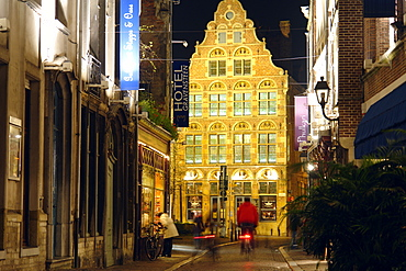 Old Town of Ghent at night, Flanders, Belgium