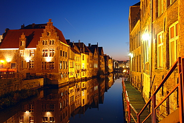 Old Town of Ghent at night, Reflection in the water, Flanders, Belgium
