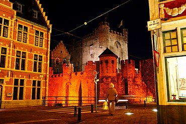 Old Town of Ghent at night with castle, Flanders, Belgium