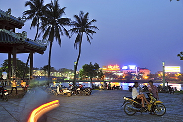The perfume river and promenade in the evening light, Huong Giang, Hue, Vietnam