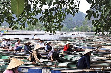 Boats on the river, Tam Coc in Halong bay near Ninh Binh, north Vietnam, Vietnam