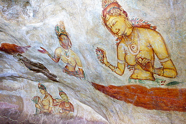 Mural paintings of the Sigiriya ladies, Sigiriya, Sri Lanka, Asia