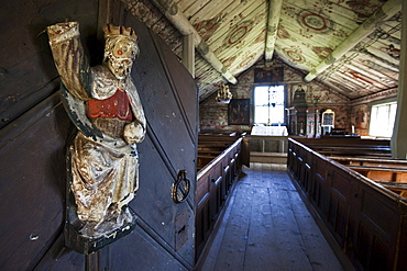 Interior view of the chapell Ulvoen Gamla Kapell, Hoega Kusten, Vaesternorrland, Sweden, Europe
