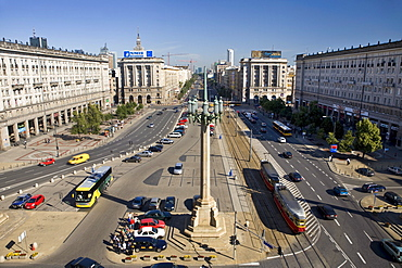High angle view at Marszalkowska Boulevard in the sunlight, Warsaw, Poland, Europe