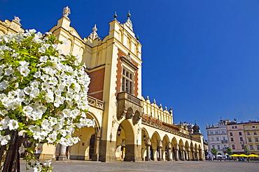 Cloth hall at main market Rynek Glowny in the sunlight, Krakow, Poland, Europe