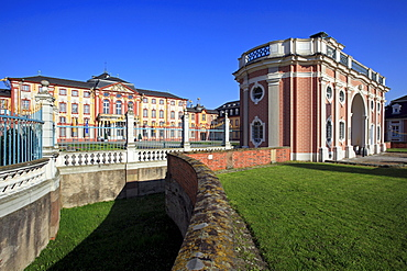 Gate and palace, Bruchsal, Black Forest, Baden-Wuerttemberg, Germany