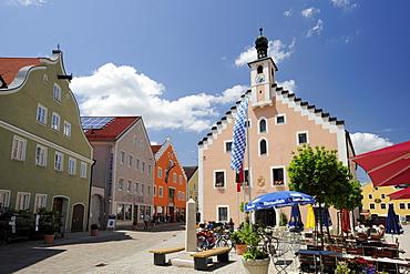 Dietfurt town hall, Altmuehltal cycle trail, Altmuehl valley nature park, Dietfurt an der Altmuehl, Neumarkt in der Oberpfalz, Bavaria, Germany