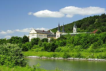 St. Anna Monastery in Riedenburg, Altmuehltal cycle trail, Altmuehl valley nature park, Altmuehltal, Riedenburg, Kelheim, Bavaria, Germany