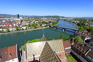 View of the Old City of Basel and bridge, Wettsteinbruecke, over the River Rhine, Klein-Basel, Basel, Switzerland