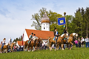 Traditional Georgiritt at Hub-chapel, Penzberg, Upper Bavaria, Germany