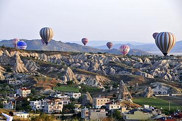 ballooning in the valley of Goereme, Cappadocia, Anatolia, Turkey