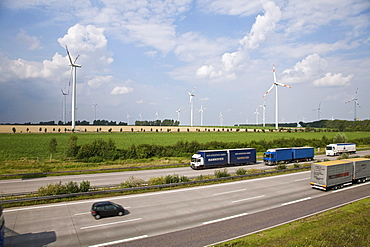 Wind turbines alongside the Autobahn A2 direction Berlin, Lower Saxony, Germany