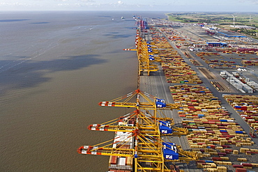 Aerial view of the container port Bremerhaven, Loading cranes along the pier, Lower Saxony, Northern Germany