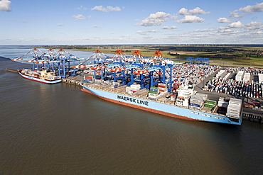 Aerial shot, container port, Bremerhaven, Lower Saxony, Germany