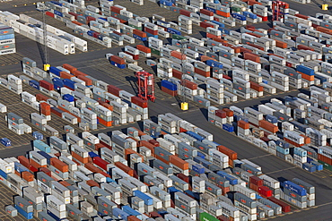 Aerial view of the container port, Containers waiting to be transported, Logistics, Bremerhaven, northern Germany