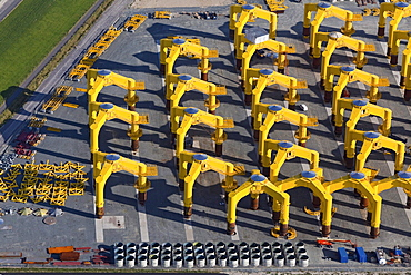 Aerial view of foundation structures for offshore wind farms at Cuxhaven Steel Construction, Cushaven, Lower Saxony, Germany