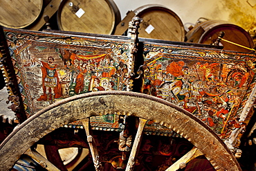 Traditioneal horse drawn cart, wine cellar, Pellegrino, Marsala, Sicily, Italy
