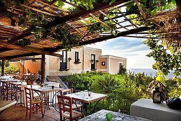 Restaurant, Hotel Signum, Malfa, Salina Island, Aeolian islands, Sicily, Italy
