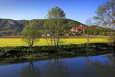 Beuron monastery, Upper Danube nature park, Danube river, Baden-Wuerttemberg, Germany