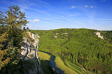 View to the Eichfelsen rocks above the Danube river, near Beuron monastery, Upper Danube nature park, Danube river, Baden-Wuerttemberg, Germany