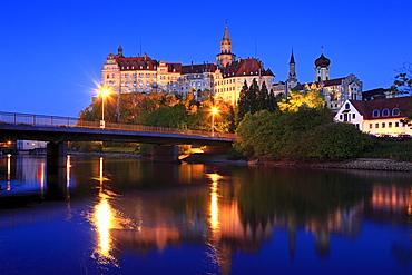 Sigmaringen castle in the evening light, Upper Danube nature park, Danube river, Baden-Wuerttemberg, Germany