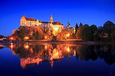Sigmaringen castle at night, Upper Danube nature park, Danube river, Baden-Wuerttemberg, Germany