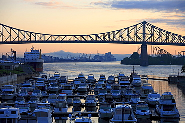 Yachtclub and J.Cartier Bridge, Saint Lawrence River, Montreal, Quebec, Canada