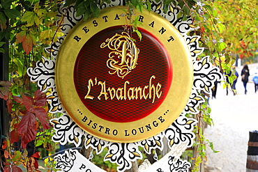 Sign of a restaurant in Mont Tremblant, Quebec, Canada