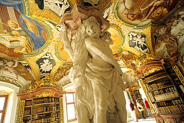 Library in Metten abbey near Deggendorf, Lower Bavaria, Bavaria, Germany