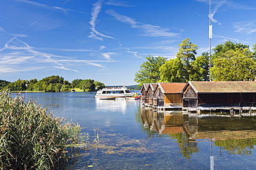 Lake Staffelsee near Seehausen with steam ship, Upper Bavaria, Germany