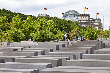 Holocaust-Memorial, Reichstag building in background, Berlin, Germany