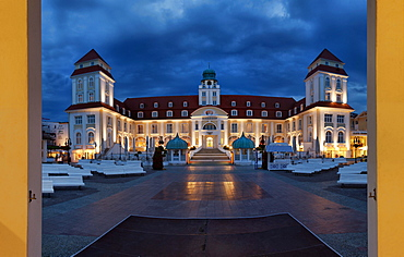 Spa hotel under clouded sky at night, Baltic resort Binz, Ruegen, Mecklenburg-Western Pomerania, Germany, Europe